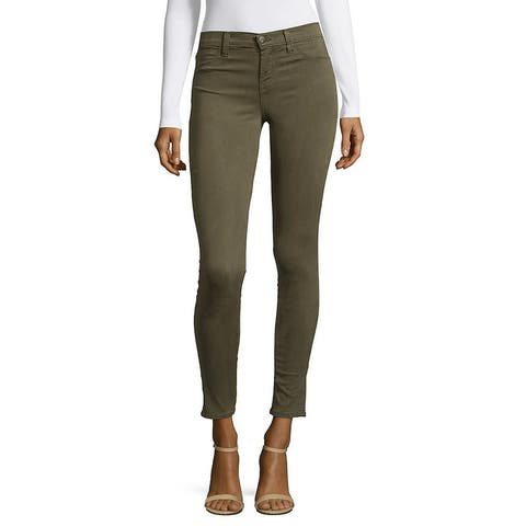 J Brand Luxe Sateen Mid-Rise Skinny Pant - cypress