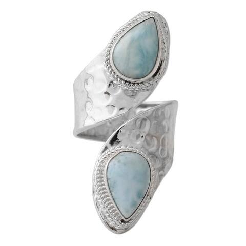 NOVICA Dreamy Duo, Larimar wrap ring