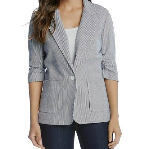 Karen Kane Women's Pant Suit Blue Size XL Notch Collar Pinstripe