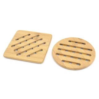 Dinning Table Bamboo Bowl Pot Plate Holder Heat Resistant Mat Wood Color 2 in 1