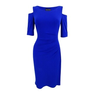 Connected Women's Petite Ruched Cold-Shoulder Dress
