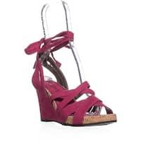 Aerosole Lilac Plush Wedge Lace Up Sandals, Pink
