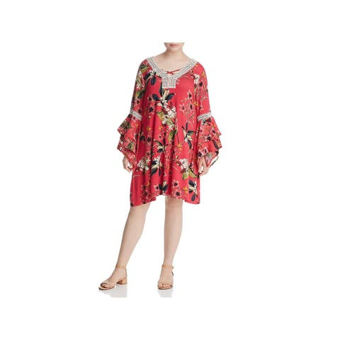 Cupio Womens Plus Casual Dress Floral Print Embroidered