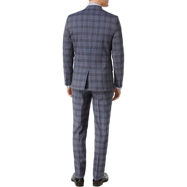 Ben Sherman Mens Two Button Slim Fit Cotton Glenplaid Sportcoat