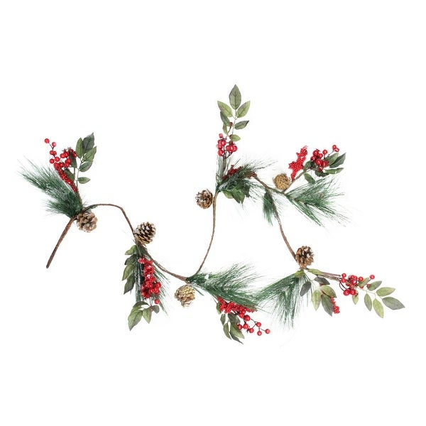 """54"""" Snow Dusted Pine Cones, Berries, and Long Pine Needles Artificial Christmas Garland - Unlit - green"""