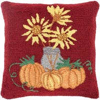 "18"" Autumn Orange and Candy Apple Red Fall Harvest Decorative Throw Pillow -Down Filler - Green"