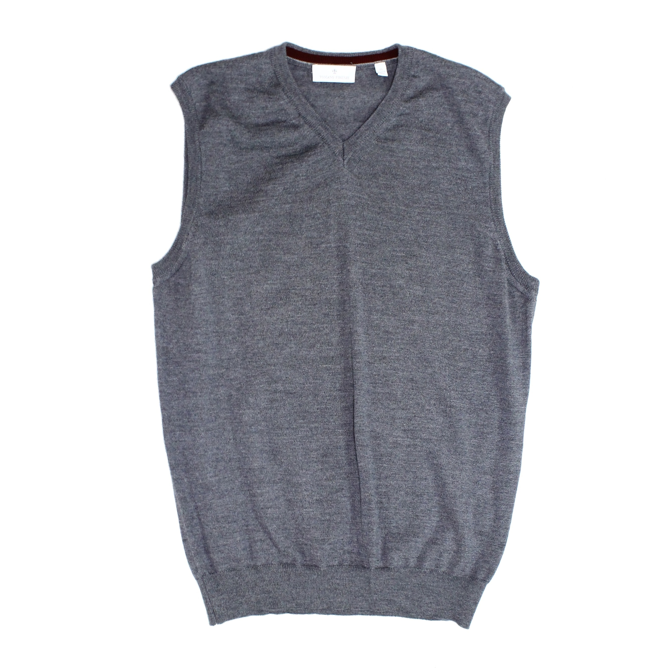 Toscano Firenze Mens Sweater Heather Gray Size XL Rib Knit Vest Wool
