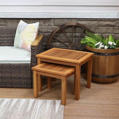 Sunnydaze Set of 2 Meranti Wood Outdoor Nesting Tables