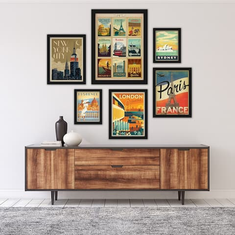 World Cities by Anderson Design Group Framed Art (Set of 6)