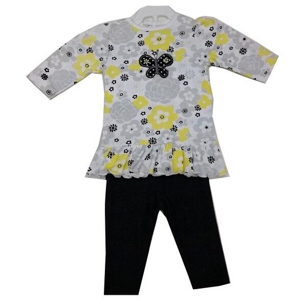 Bon Bebe Baby Girls Black White Floral Print Butterfly 2 Pc Pant Set 3-9M