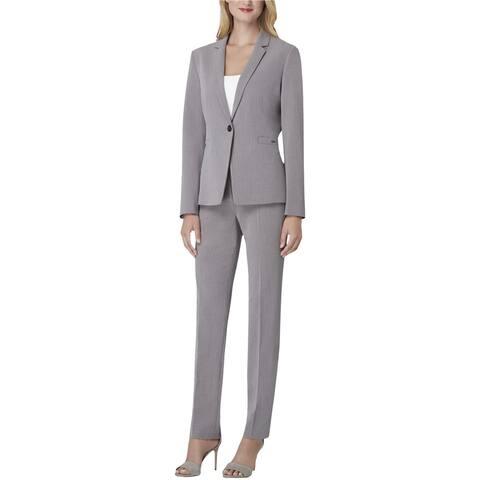Tahari Womens Narrow Lapel Pant Suit, Grey, 2