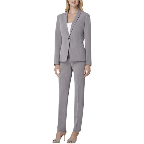 Tahari Womens Narrow Lapel Pant Suit, Grey, 2
