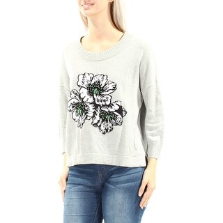 FRENCH CONNECTION $128 Womens New 1314 Gray Floral Beaded Sweater S B+B