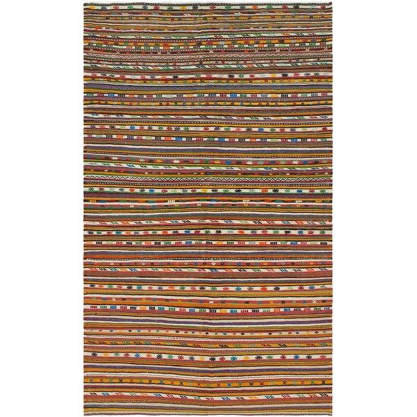 ECARPETGALLERY Flat-weave Bohemian Cream, Red Wool Kilim - 5'8 x 10'6. Opens flyout.