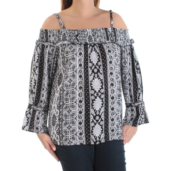 2e183a808b50ed Shop INC Womens Black Ruched Floral Spaghetti Strap Off Shoulder Top Size:  L - Free Shipping On Orders Over $45 - Overstock.com - 21592155