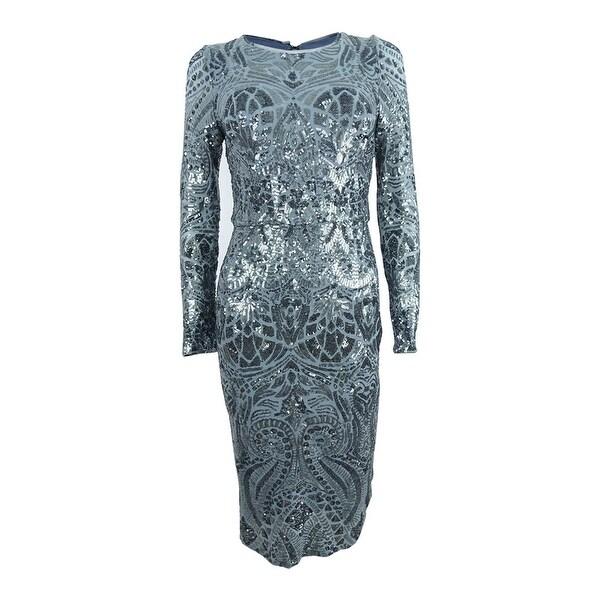 Shop Betsy & Adam Women\'s Plus Size Sequined Sheath Dress - Gunmetal ...
