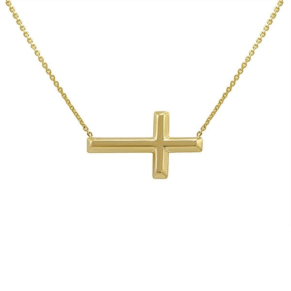 Amanda Rose 14k Yellow Gold Petite Sideways Cross Necklace