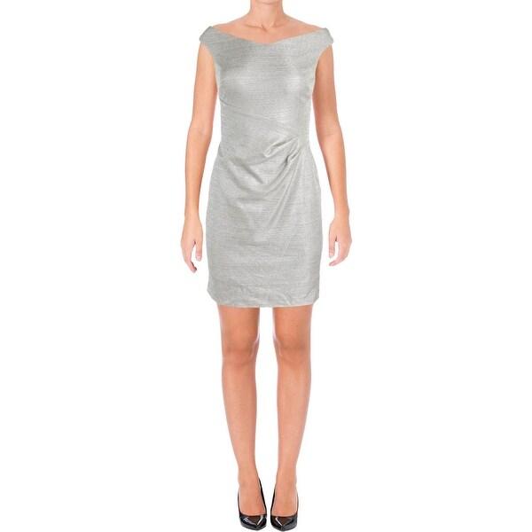 c06b9ea31d945 Shop Lauren Ralph Lauren Womens Petites Cocktail Dress Ruched Sheath ...