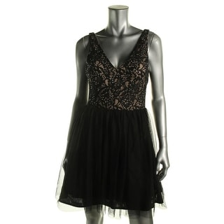 Blondie Nites Womens Juniors Party Dress Sleeveless Embellished Lace - 11