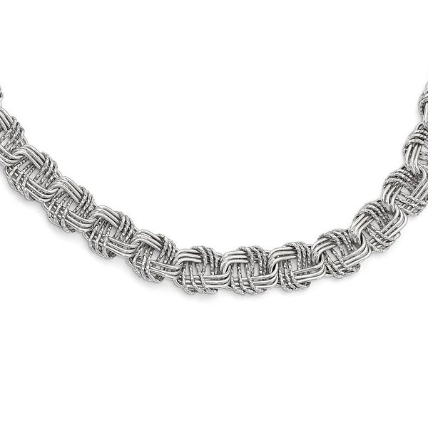 Italian Sterling Silver Polished & Diamond Cut with 1in ext. Necklace - 17.5 inches