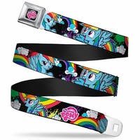 My Little Pony Logo Full Color Black Pink 3 Rainbow Dash Poses Rainbows Seatbelt Belt