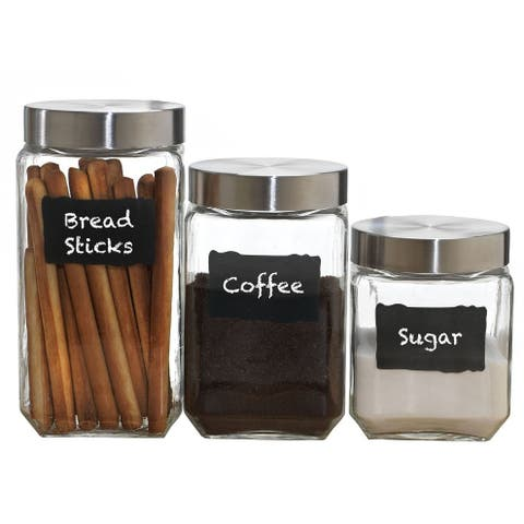 Palais Glassware Canister Clear Glass with Chalkboard and Chalk Air Tight Steel Lids for Bathroom or Kitchen, Set of 3