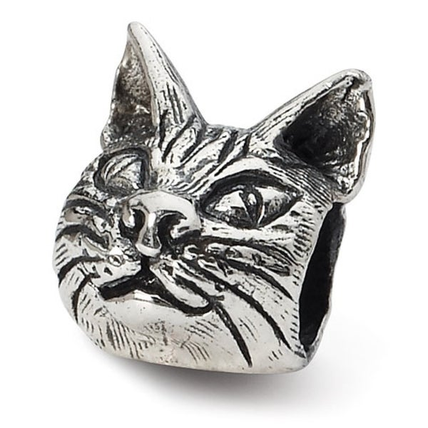 Sterling Silver Reflections Maine Coon Cat Head Bead (4mm Diameter Hole)