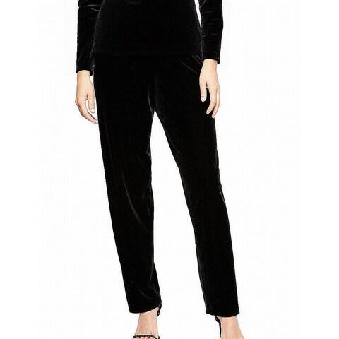 Alex Evenings Black Womens Size XL Velvet Slim Leg Dress Pants