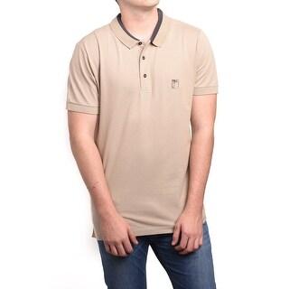 Versace Men's Cotton Medusa Logo Polo Shirt Beige