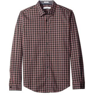 Calvin Klein NEW Red Mens Size Small S Button Down Checkered Shirt