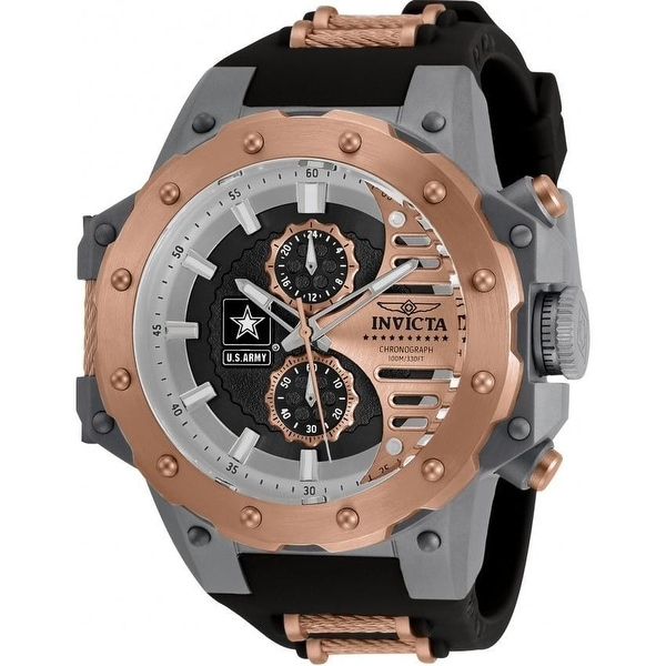 Invicta Men's 32985 'U.S. Army' Black and Rose-Tone Polyurethane and Stainless Steel Watch. Opens flyout.