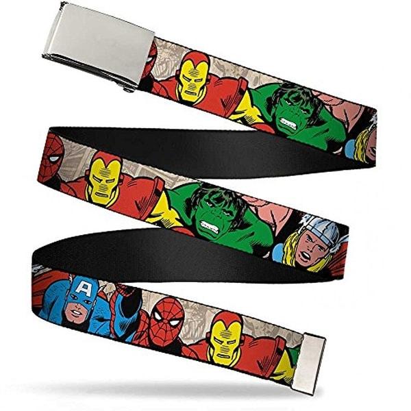 """Buckle-Down Men's Buckle-Down Web Belt Avengers 1.25"""""""