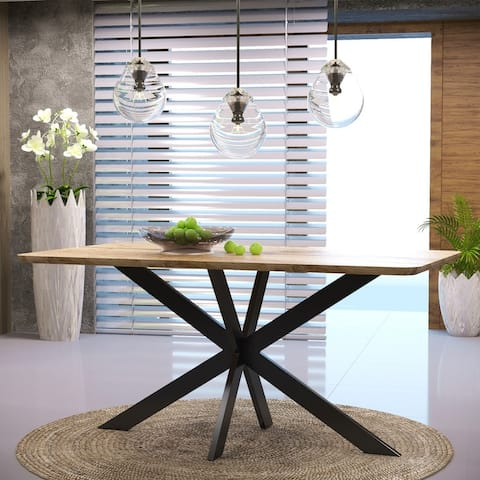 "LeisureMod Ravenna X Pedestal Metal & Wood Rectangle Dining Table - 63"""