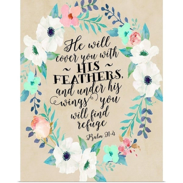 Shop Psalm 91 4 Wreath Teal And Pink W Beige Background