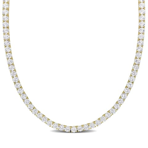 Miadora Created White Sapphire Classic Tennis Necklace in Yellow Plated Sterling Silver