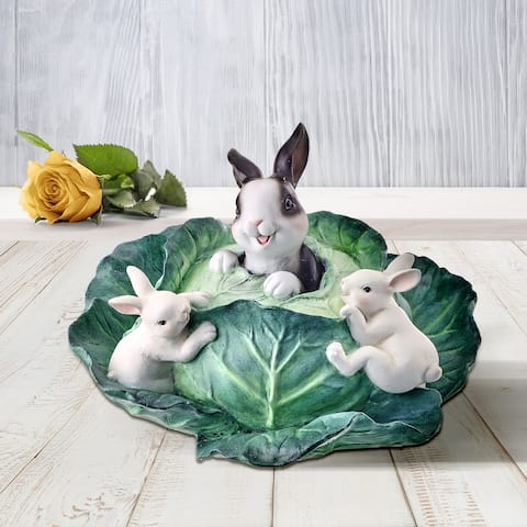 """Resin Playing Bunnies In Cabbage 10""""L - 10"""""""