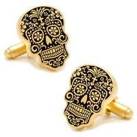 Gold Plated Day of the Dead Sugar Skull Cufflinks