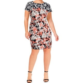 BOSS Hugo Boss Womens Donisa Wear to Work Dress Floral Short Sleeve
