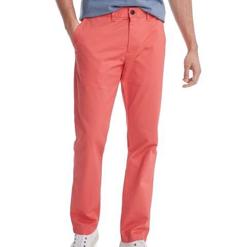 Tommy Hilfiger Mens Chino Pants Pink 40x30 Custom Fit Slim Straight Leg
