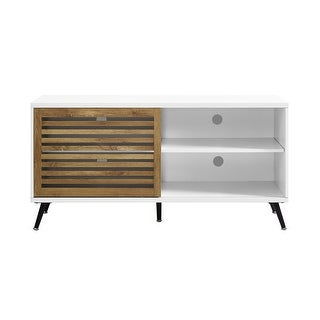"Offex 52"" TV Console with Sliding Door - White/Barnwood"