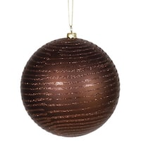 "Chocolate Brown Glitter Stripe Shatterproof Christmas Ball Ornament 4.75""(120mm)"