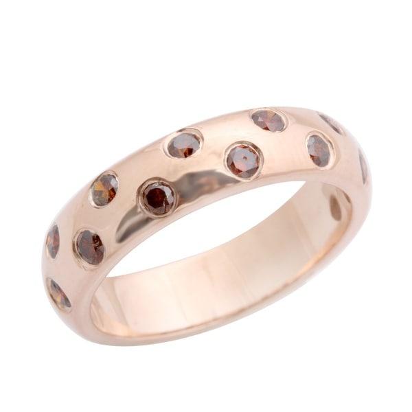 Beaitiful 0.50 Carat Bezel Set Cognac Diamond Wedding Band Ring