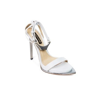 Roberto Cavalli Womens White Leather Silver Metal Toe Sandal