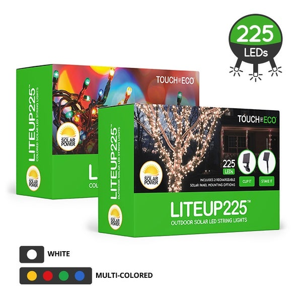 LITEUP225 Solar LED String Lights 225 Outdoor Holiday Lights