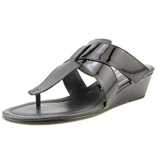 Donald J Pliner Lido 26 Women Open Toe Patent Leather Wedge Sandal