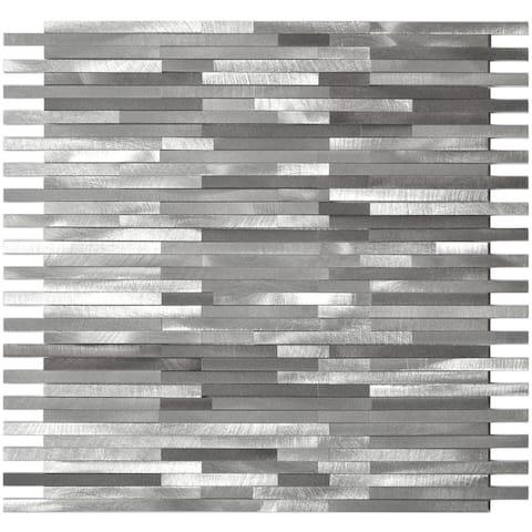 Grey Thin Lines Aluminum Metal Tile 11.75x12 (11 tiles/10.77 Sqft)