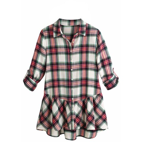 Women's Tunic Top - Pink Plaid Flannel Button Down Roll Tab Sleeve Shirt