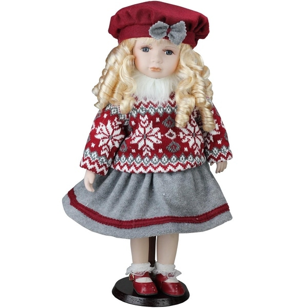 "17.5"" Porcelain ""Becca"" in Red Beret Standing Collectible Christmas Doll"