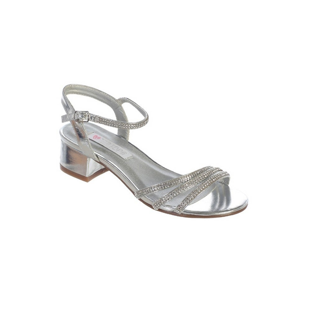 Girls Silver Sparkle Rhinestone Strap Buckle Block Heel Sandals