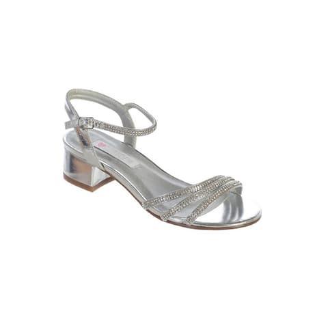 Girls Silver Sparkle Rhinestone Strap Buckle Block Heel Sandals